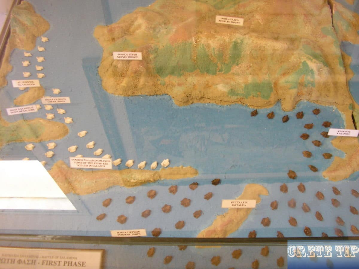 Dioramas of phases of sea battles