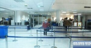 Check-in at the airport in Heraklion.